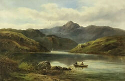 Fine Victorian Signed Oil - Snowdon North Wales - Anglers In Boat Lake - 1880and039s