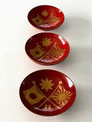 Japanese Antique Russo-japanese War Memorial Sake Cups And Compass Good Condition