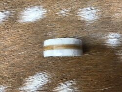 Real Deer Antler Ring With Texas Mesquite Inlay,size 13 1/2,10m/m