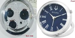 Bulova B6128 Silver And Blue Travel Alarm Clock Brand New W/box And Travel Pouch