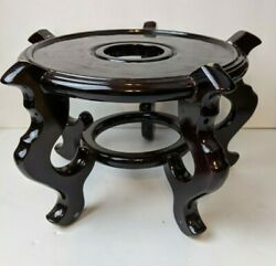 Lg Vintage Asian Black Lacquer Wood Vase Pot Bowl Display Stand W/ 5 Feet 6 3/4