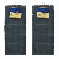 2 X Home Collection Gray Kitchen Towel 15 x 25 Kitchen Dish Hand Towels