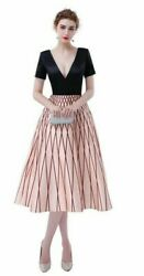 Weddings Party Dresses Formal A Line V Neck Lace Up Satin Short Sleeves Patterns