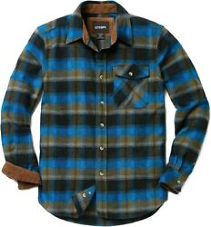 Cqr Menand039s All Cotton Flannel Shirt Long Sleeve Casual Button Up Plaid Shirt Br