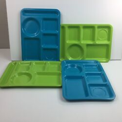 Melamine Divided Lunch Trays Set 4 Blue Green Outdoor Pool Bbq Picnic Cafeteria