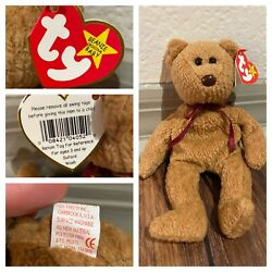 Super Rare Retired Curly Beanie Baby With Brown Nose And Multiple Tag Errors