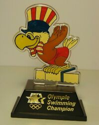 Vintage 1984 Los Angeles Summer Olympics Swimming Champion Trophy Rowdy Gaines