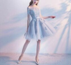 Evening Weddings Party Dresses Boat Neck Short Lace Sleeve Tulle Sashes Applique $101.14