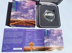 2002 Australia 5 Hologram Year Of The Outback 1oz Fine Silver Proof Coin