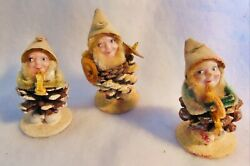 Vintage Christmas Elf Pinecone Elves Snow Covered Mica Lot Of 3 Ornaments Japan