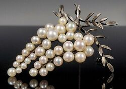 Antique Japanese Aesthetic Sterling Silver And Akoya Pearl Freesia Floral Brooch