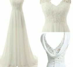Beach Wedding Dress Bridal Gowns Lace Appliques White Ivory Backless Chiffon New $188.99
