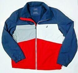 Nautica Men's Large Red, White, Blue And Gray Striped Insulated Zip-up Jacket
