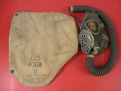 Wwii Us Army Chemical Corps M3a1 Gas Mask And Carry Bag Original - Dtd 1942 - Rare