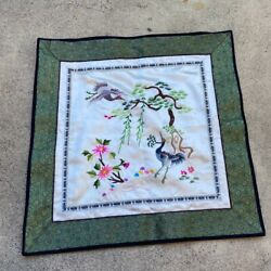 White And Green 100 Silk Vintage Embroidered Flower Pillowcases New