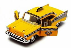 1957 Chevy Bel Air Taxi Cab, Yellow - Kinsmart 5360d - 1/40 Scale Diecast Model