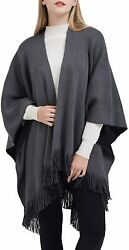 Ilishop Womenand039s Winter Knitted Faux Cashmere Poncho Capes Shawl Cardigans Sweate
