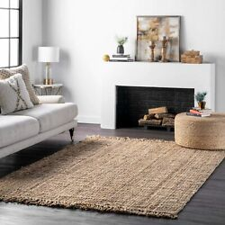 Nuloom Natura Collection Chunky Loop Jute Area Rug 3and039 X 5and039 Natural