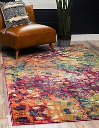 Unique Loom Jardin Collection Colorful Abstract Multi Area Rug 8and039 0 X 10and039 0