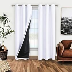 Wontex 100 White Blackout Curtains For Bedroom 42 X 84 Inches Long - Thermal In