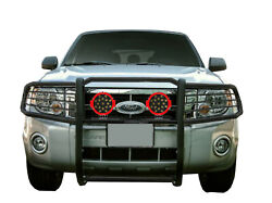 Black Horse Grille Guard Kit Set Of 7 Red Led Fit 99-04 Ford F25/35/45/550 Sd