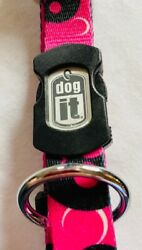 Dog It L/g New Nylon Collar-electric Skulls-id Plate On Snap-very Strong Collar