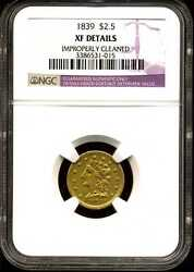 1839 2.5 Liberty Head Gold Quarter Eagle Xf Detail Cleaned Ngc 3386531-015