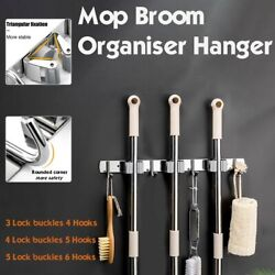 Stainless Steel Broom Holder Heavy Duty Practical Clip Mop Organizer Wall Mount