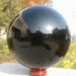 38kg Natural Black Obsidian Sphere Crystal Ball Healing Stone Collectibles