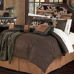 Hiend Accents Caldwell Western Cowhide Print And Faux Leather Bedding Set Super K