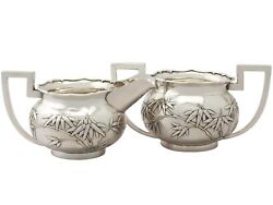 Antique Chinese Export Silver Cream Jug And Sugar Bowl