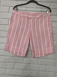 Lilly Pulitzer Palm Beach Striped Shorts 8 Size Pink All Cotton Pockets $15.52