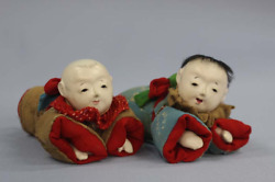 Antique Japanese Ichimatsu Doll A Set Of Two Baby Dolls 這子人形 Japanese Doll Y