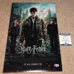 Daniel Radcliffe Signed 12x18 Movie Poster Photo Harry Potter Deathly Bas
