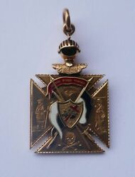 Antique 14k Yellow Gold And Enamel Knights Templar Watch Fob