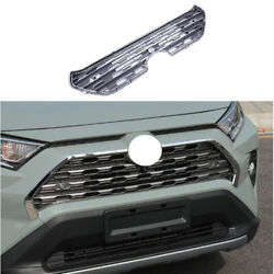 Fit For Toyota Rav4 2019-2021 Silver Abs Front Bumper Center Hood Grill Mesh 1pc