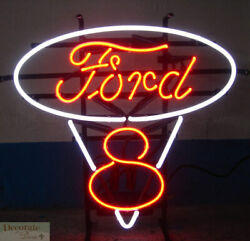 Ford V8 Logo Oval 22 Red Neon Sign Wall Window Shelf Metal Grid Warranty New