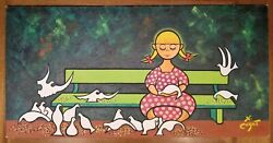 Xavier Cugat Girl With Pigeons Sitting On Park Bench Oil Art Painting Db52