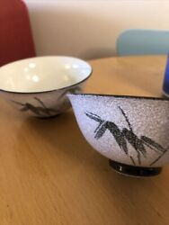 Vintage Japanese Various Miso Rice Porcelain Bowls And Tea Cups