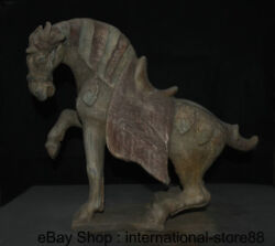 16.4 Antique Chinese Ceramics Dynasty Palace Stand Tang Horse Steed Sculpture