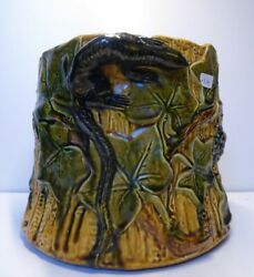 Palissy Ware Signed Lezards Majolica Pottery Ceramic French Planter Antique