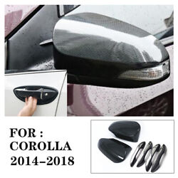 Glossy Carbon Fiber Mirror + Door Handle Covers Trims For 14-18 Toyota Corolla