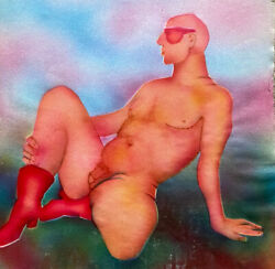Jean Marc 1949-2019 20th Century French Modernist Painting - Erotic Male Nude