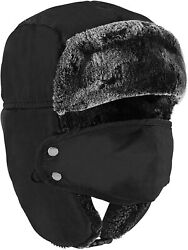 Winter Face Mask For Men - Russian Style Hat Ushanka, Trooper, Trapper Hats For