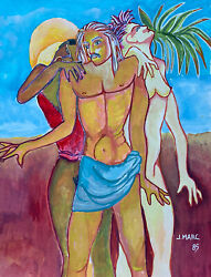 Jean Marc 1949-2019 20th Century French Modernist Painting - Nudes In Desert