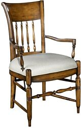 Dining Arm Chair Woodbridge Upholstered Curved Spindle Back Ringed Turned L