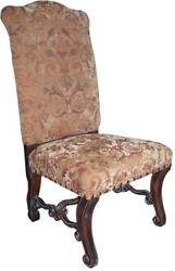 Side Chair Tuscan Style Distressed Walnut Gold Fabric Nailhead
