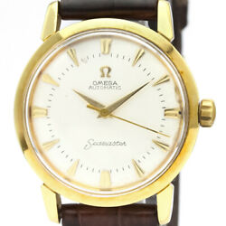 Vintage Omega Cal 501 18k Solid Gold Leather Automatic Mens Watch 2866 Bf516524
