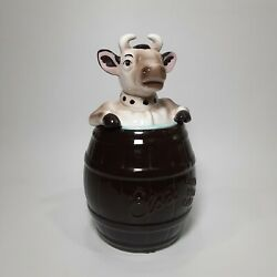 Bordens Elsie The Cow Dark Brown Barrel Handle With Care Cookie Jar By Jonal 13