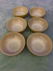 6-anchor Hocking Fire-king Oven Ware 5 Bowl Vintage 1960's Mustard Yellow